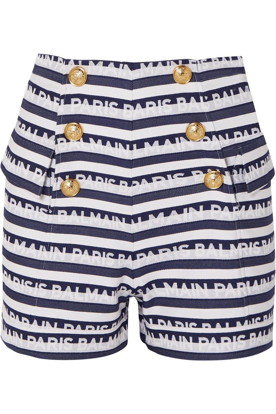 Balmain Button-embellished striped cotton-twill shorts