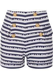 Button-embellished striped cotton-twill shorts