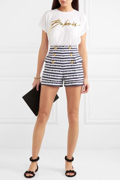Balmain Shorts Button-embellished striped cotton-twill shorts