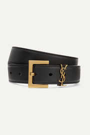 Embellished textured-leather belt