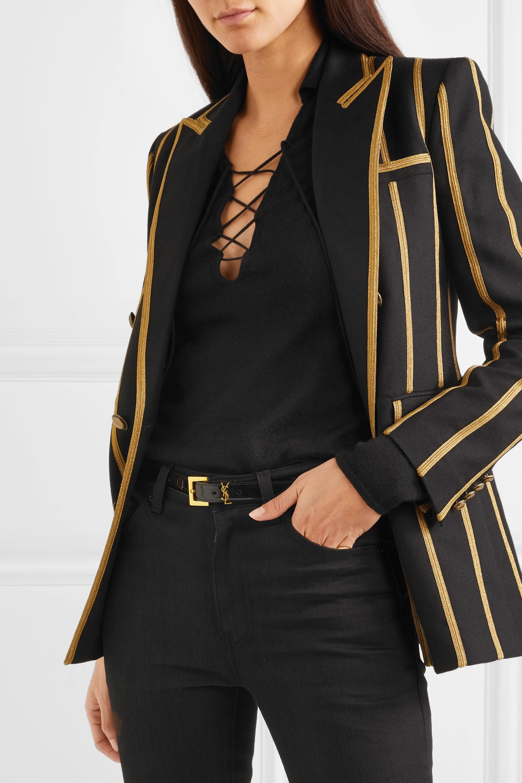 SAINT LAURENT Embellished patent-leather belt