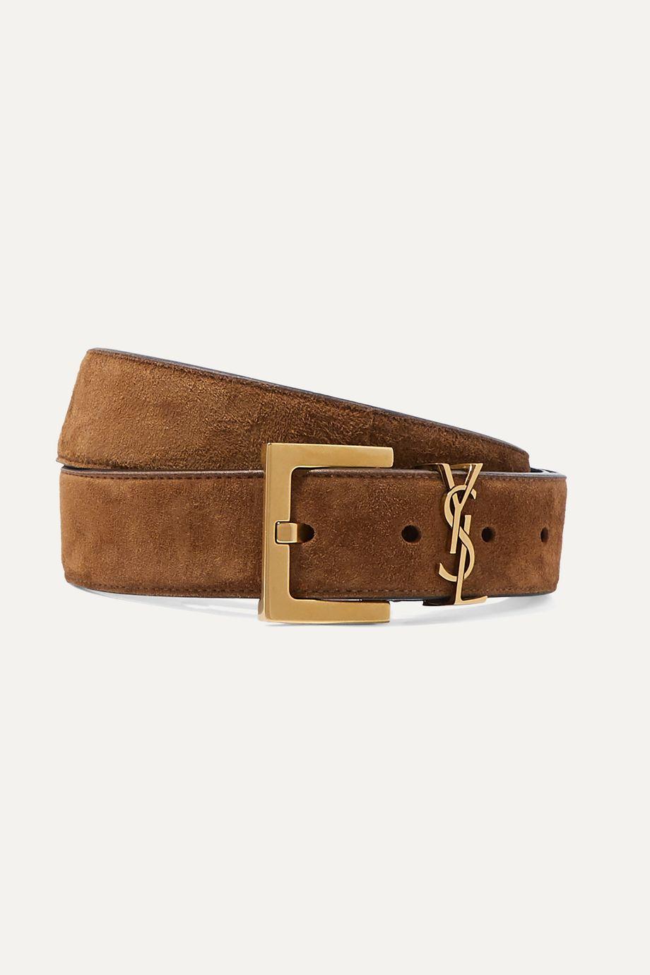 SAINT LAURENT Embellished suede belt
