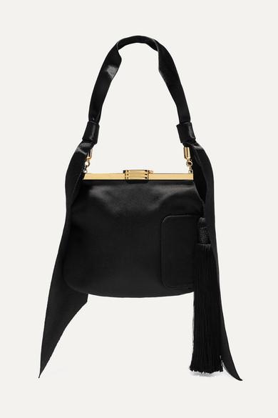 4 Am Tasseled Satin Shoulder Bag in Black