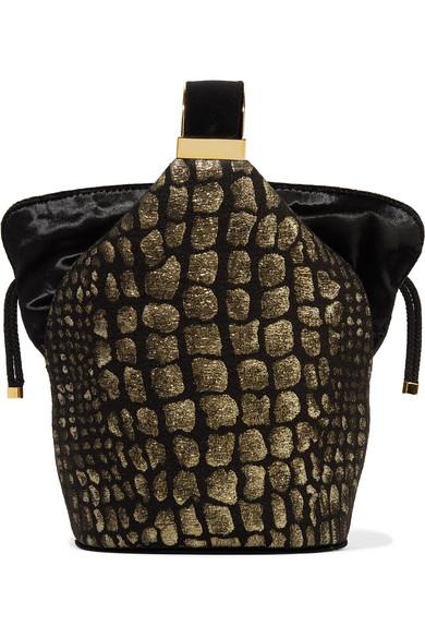 Kit Mini Velvet-Trimmed Metallic Fil Coupé Bucket Bag in Black