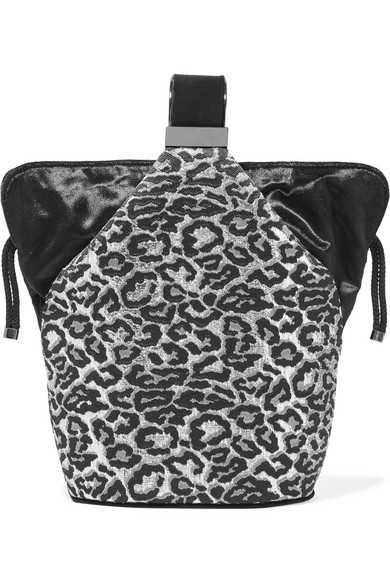 Kit Mini Velvet-Trimmed Fil Coupé Bucket Bag in Silver