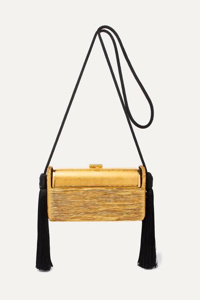 Régine Tasseled Pleated Lurex Shoulder Bag in Gold