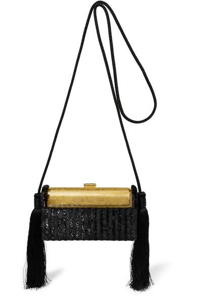 Régine Tasseled Lurex And Gold-Dipped Shoulder Bag in Black