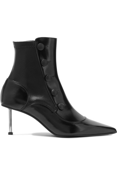 Embellished Glossed-Leather Ankle Boots in Black