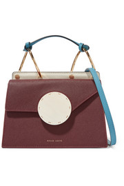 Phoebe Bis color-block textured-leather shoulder bag