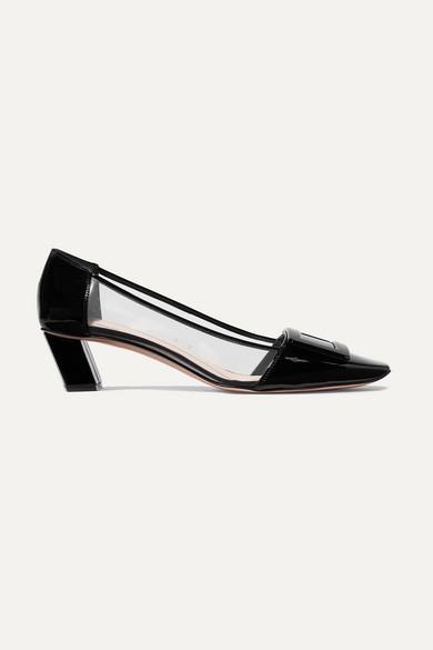 Roger Vivier Belle Vivier Patent Leather And Pvc Courts In Black