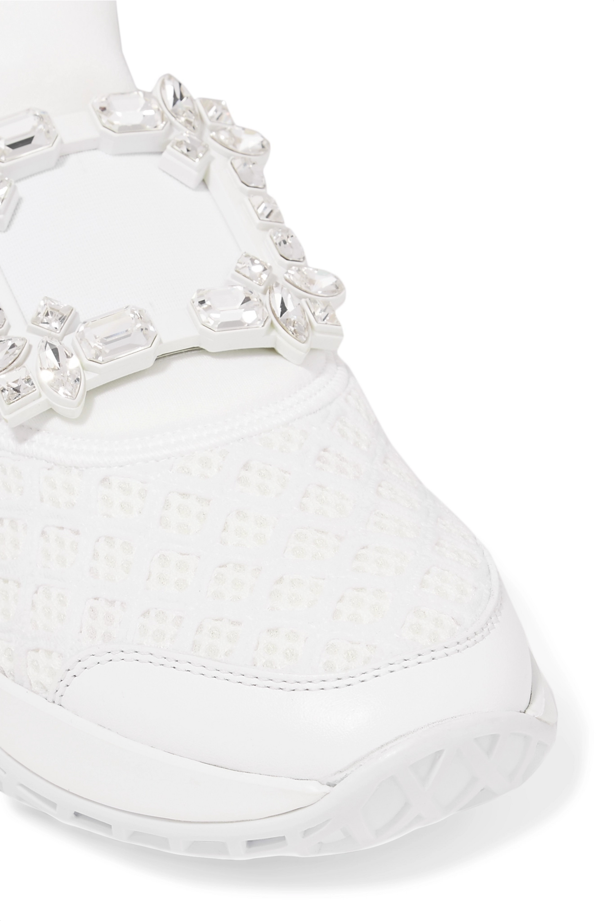 Roger Vivier Viv Run crystal-embellished neoprene, mesh and leather slip-on sneakers