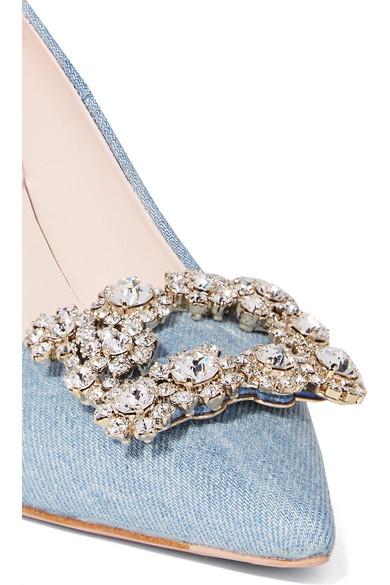 Roger Vivier Pumps Flower crystal-embellished denim pumps