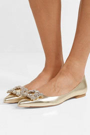 Flower crystal-embellished metallic leather point-toe flats