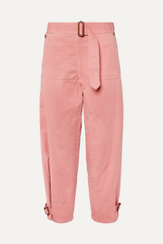 Belted cotton-drill pants
