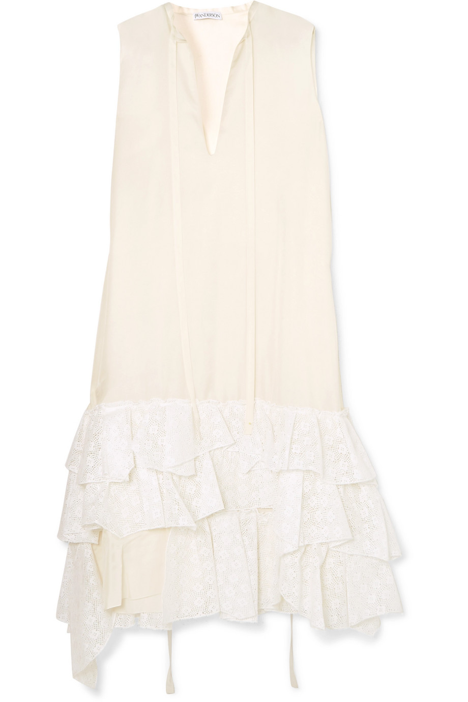 JW Anderson Asymmetric ruffled crepe de chine and broderie anglaise cotton dress