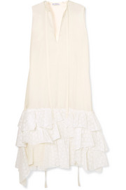 Asymmetric ruffled crepe de chine and broderie anglaise cotton dress
