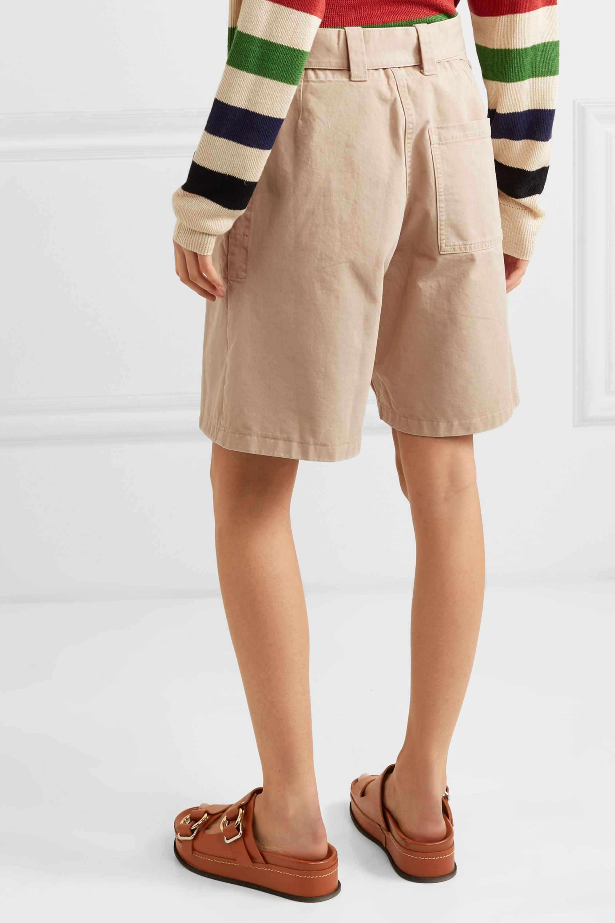 JW Anderson Belted cotton-drill shorts