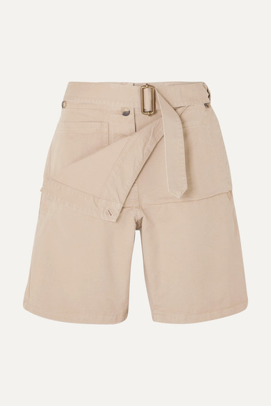 Jw Anderson Belted Cotton-drill Shorts In Beige