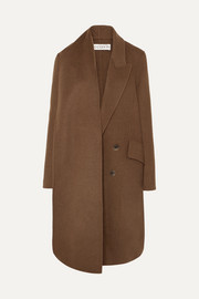 Asymmetric double-breasted wool-blend coat