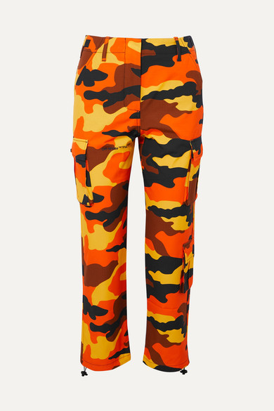 Camouflage-Print High-Rise Straight Cotton Cargo Trousers in Orange