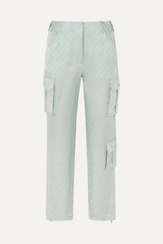 Satin-jacquard straight-leg pants