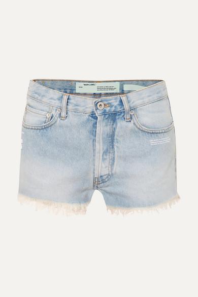 Distressed Denim Shorts in Light Denim