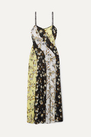Paneled floral-print intarsia-trimmed crepe de chine maxi dress