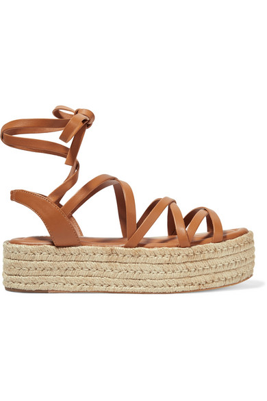 deb37c9f Leather espadrille platform sandals