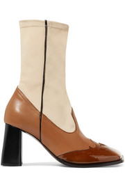 Ellery Leather and stretch-knit ankle boots