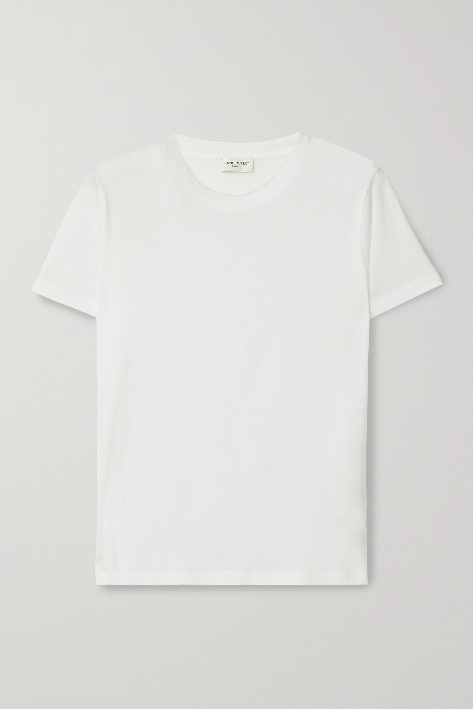 SAINT LAURENT Essentials 贴花纯棉平纹布 T 恤