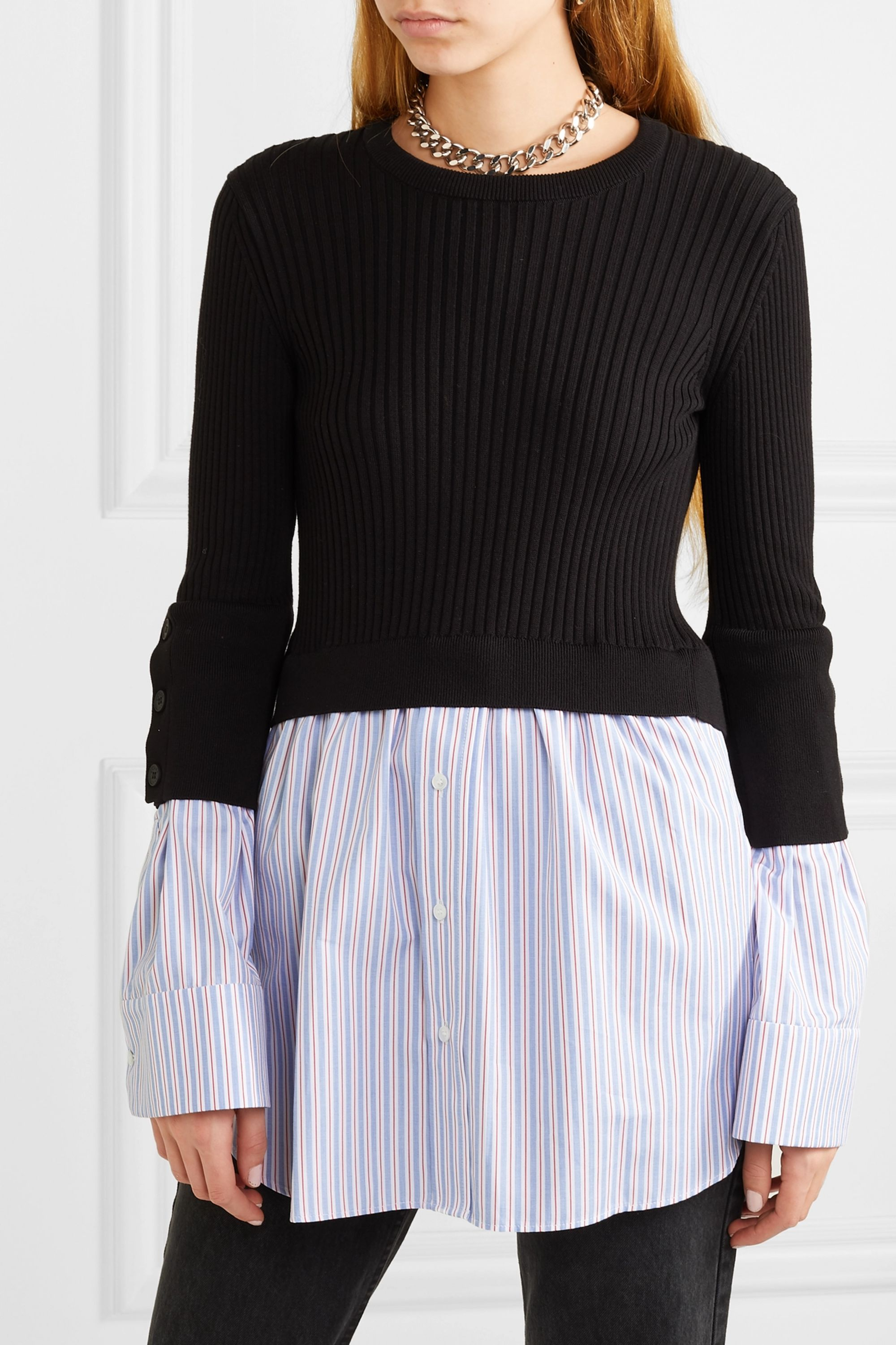 Layered ribbed cotton blend knit and cotton poplin sweater