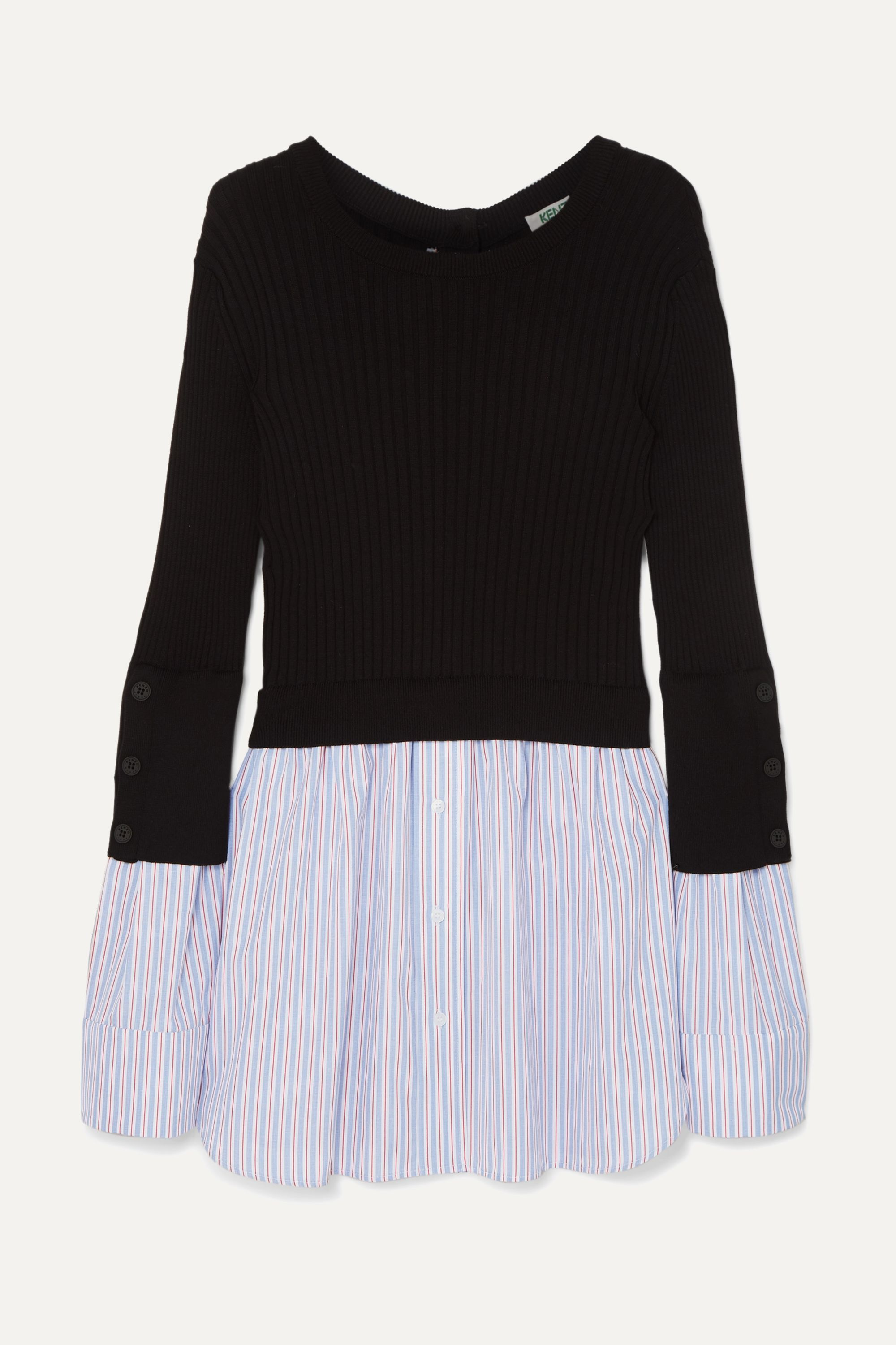 Layered ribbed cotton-blend knit and cotton-poplin sweater