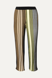 Cropped striped ribbed-knit flared pants