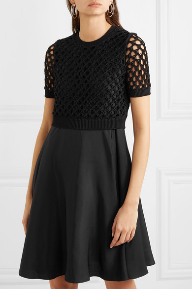 Kenzo Dress Layered satin and crocheted cotton-blend dress