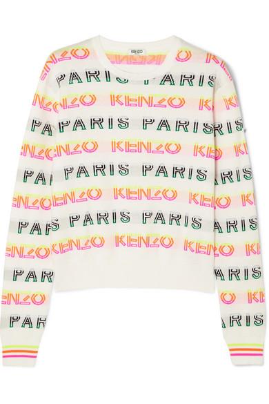 03a2fd41 Kenzo Paris & Logo Jacquard Cotton Sweater In White | ModeSens