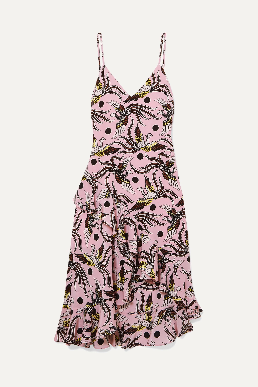 Ruffled printed silk-crepe midi dress