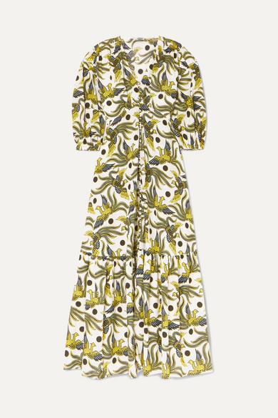 Kenzo Tiered Printed Cotton-poplin Midi Dress In Green