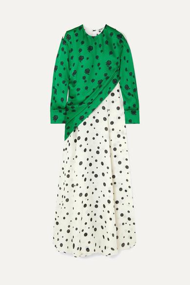 Paneled Printed Linen And Satin Maxi Dress