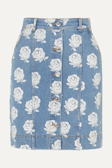 b943a110ef KENZO | Floral-print denim mini skirt | NET-A-PORTER.COM