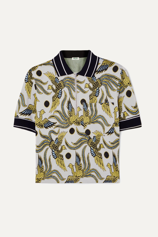 Stretch jacquard-knit polo shirt