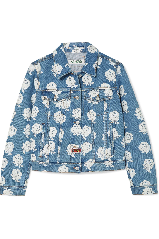 Floral-print denim jacket