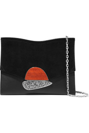 Proenza Schouler Curl small embellished textured-leather and suede shoulder bag