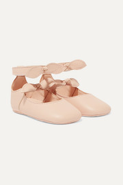 Sizes 17 - 19 bow-detailed leather ballet flats
