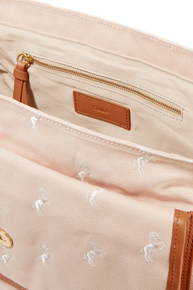 f3eade638069e Chloé Kids. Leather-trimmed embroidered canvas diaper bag. £285. Kidswear.  Zoom In