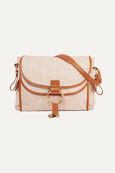 86c6fe3154b18 Chloé Kids   Leather-trimmed embroidered canvas diaper bag   NET-A ...