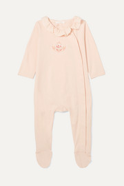 Months 1-18 ruffled embroidered cotton-jersey onesie