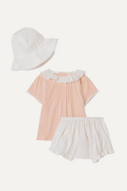 Months 1-18 cotton-jersey and voile top, shorts and sunhat set