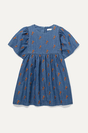 Ages 2 - 5 embroidered cotton-chambray dress