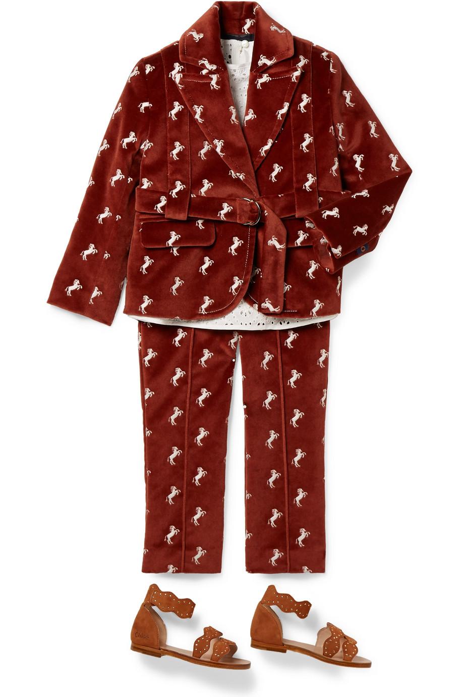Chloé Kids 2–5 Jahre – Blazer aus Baumwollsamt mit Stickerei