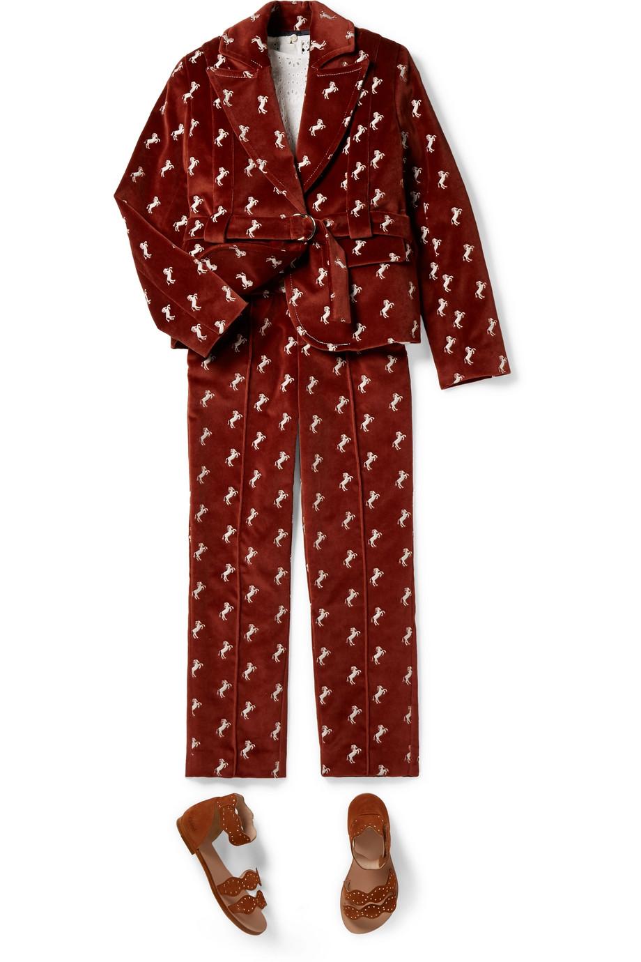 Chloé Kids 6–12 Jahre – Blazer aus Baumwollsamt mit Stickerei